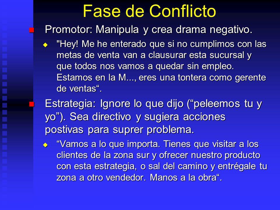 Fase de Conflicto Promotor: Manipula y crea drama negativo.