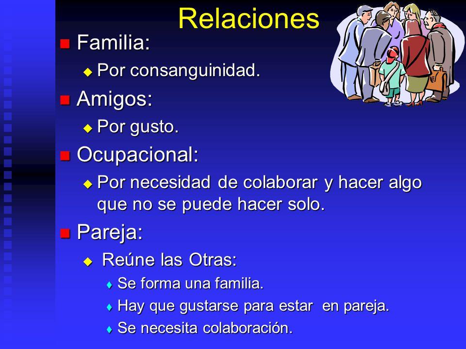 Relaciones Familia: Amigos: Ocupacional: Pareja: Por consanguinidad.