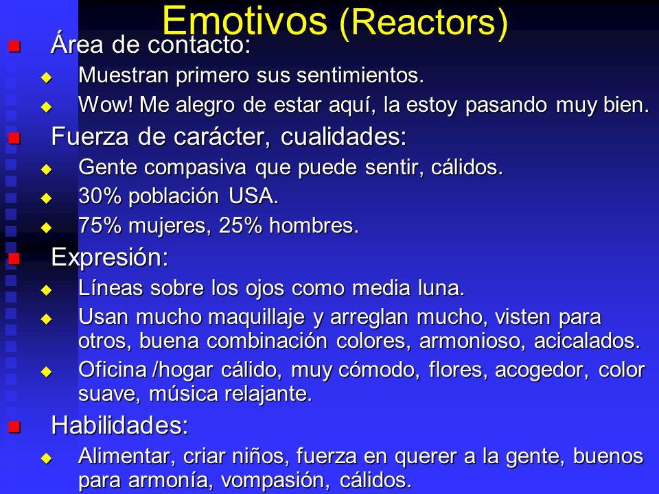 Emotivos (Reactors) Área de contacto: Fuerza de carácter, cualidades: