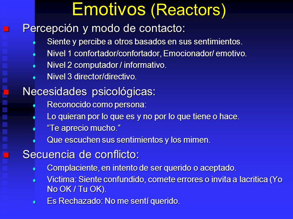 Emotivos (Reactors) Percepción y modo de contacto: