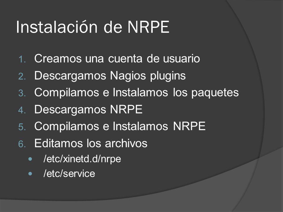 Instalación de NRPE Creamos una cuenta de usuario