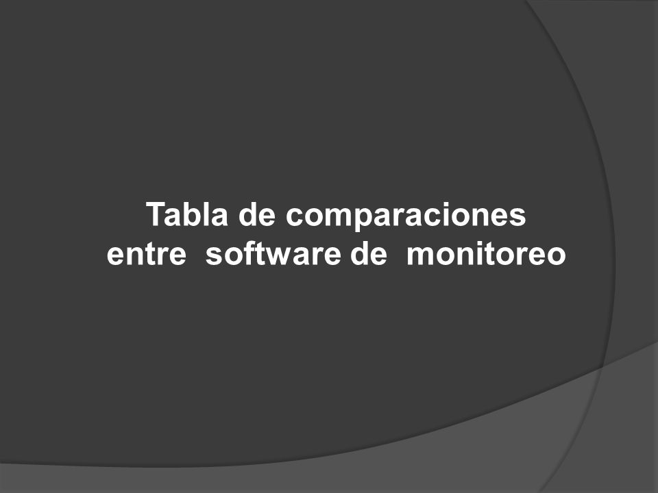 Tabla de comparaciones entre software de monitoreo