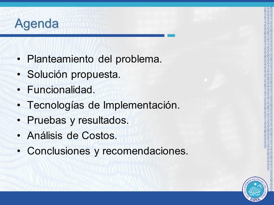 Agenda Planteamiento del problema. Solución propuesta. Funcionalidad.