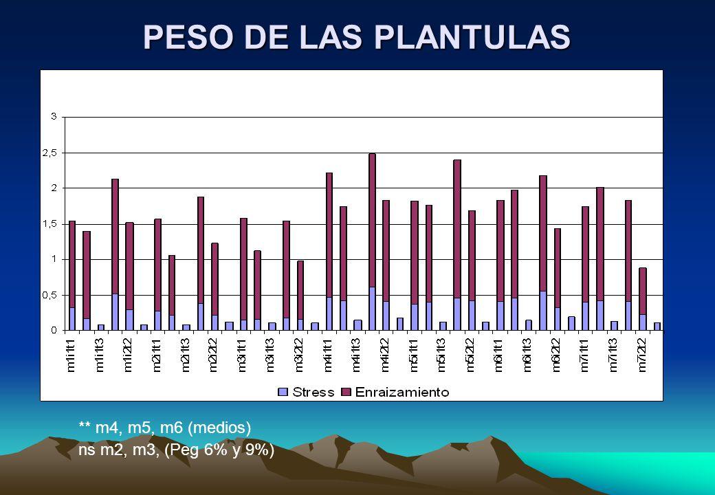 PESO DE LAS PLANTULAS ** m4, m5, m6 (medios) ns m2, m3, (Peg 6% y 9%)