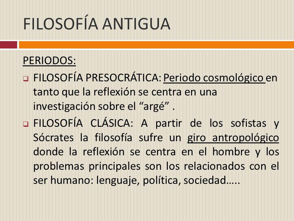 FILOSOFÍA ANTIGUA PERIODOS: