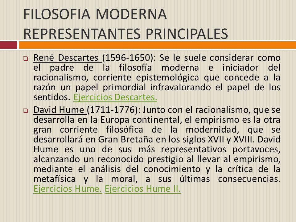 FILOSOFIA MODERNA REPRESENTANTES PRINCIPALES