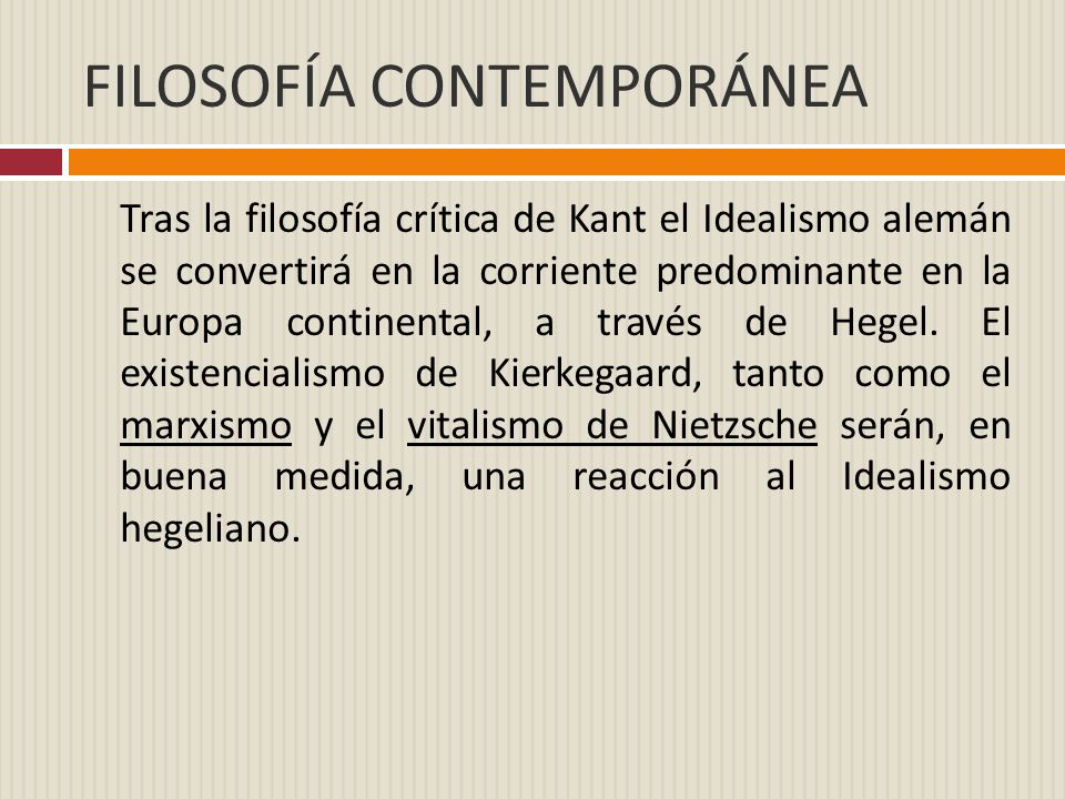 FILOSOFÍA CONTEMPORÁNEA