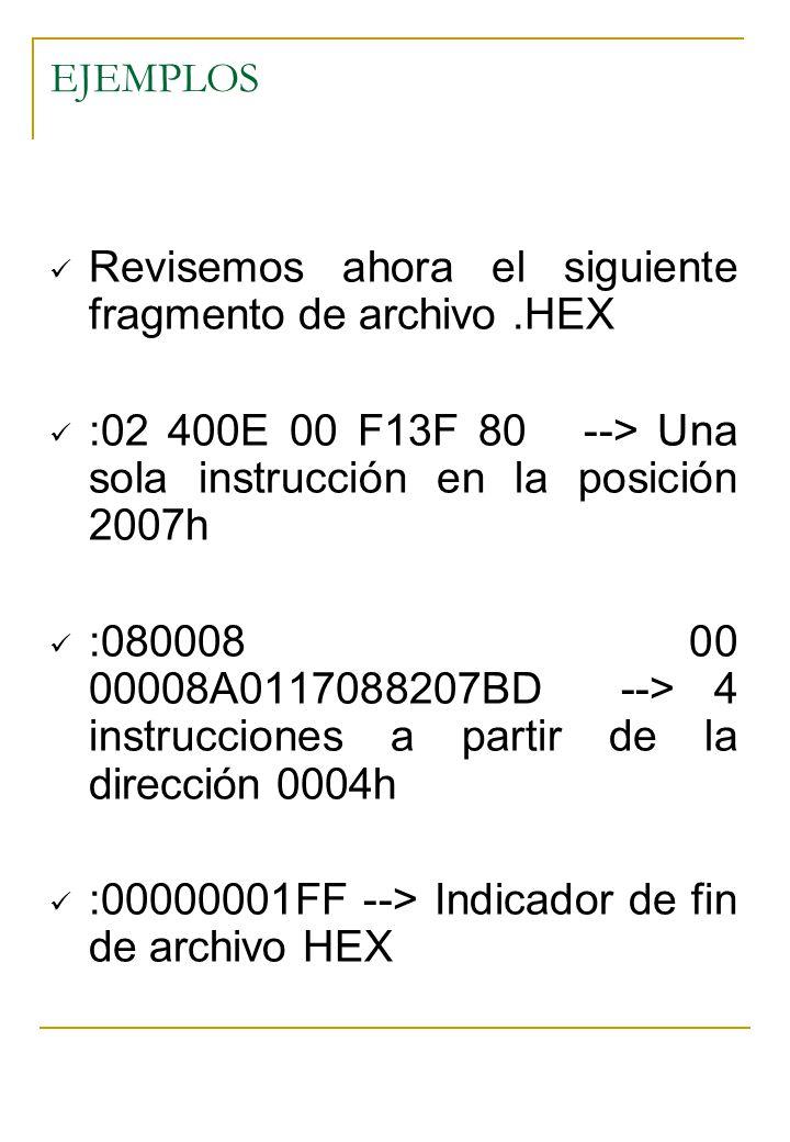 Revisemos ahora el siguiente fragmento de archivo .HEX