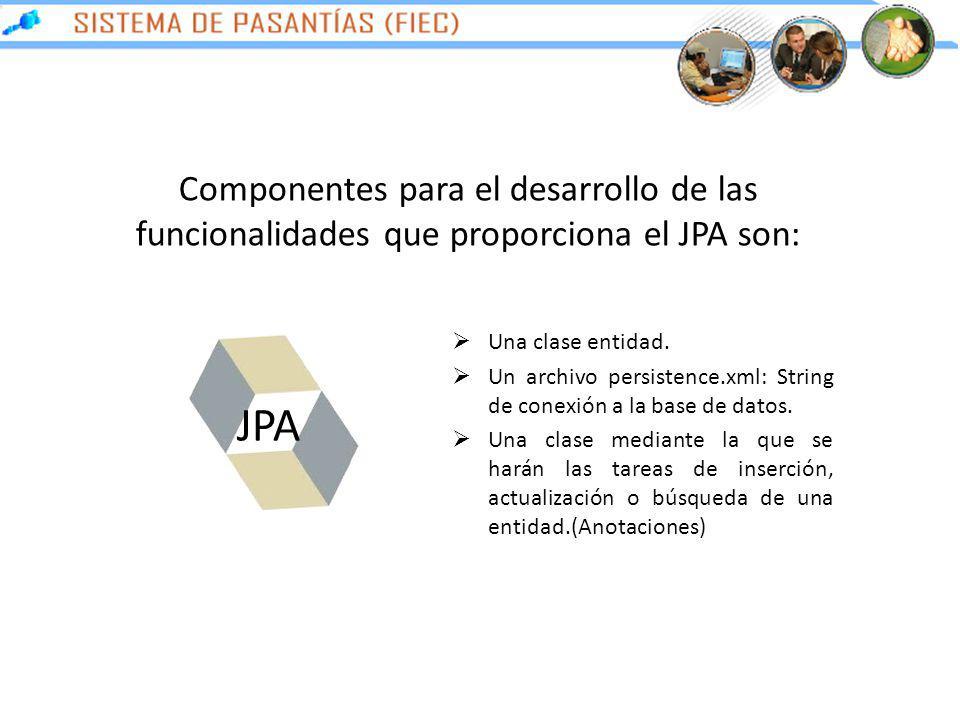 Componentes para el desarrollo de las funcionalidades que proporciona el JPA son: