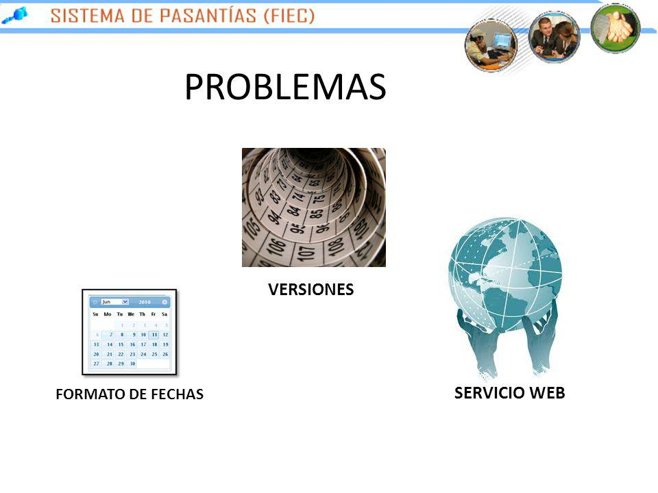 PROBLEMAS VERSIONES FORMATO DE FECHAS SERVICIO WEB