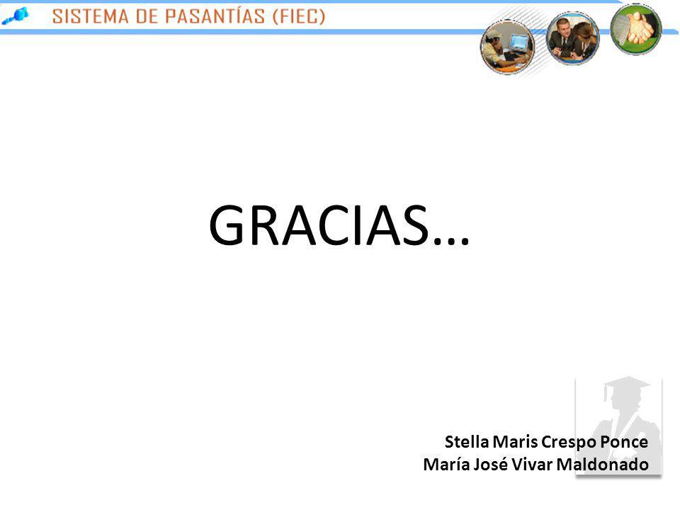 GRACIAS… Stella Maris Crespo Ponce María José Vivar Maldonado