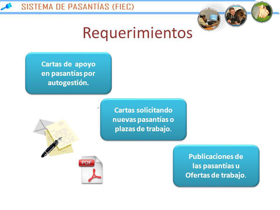 Requerimientos Cartas de apoyo en pasantías por autogestión.