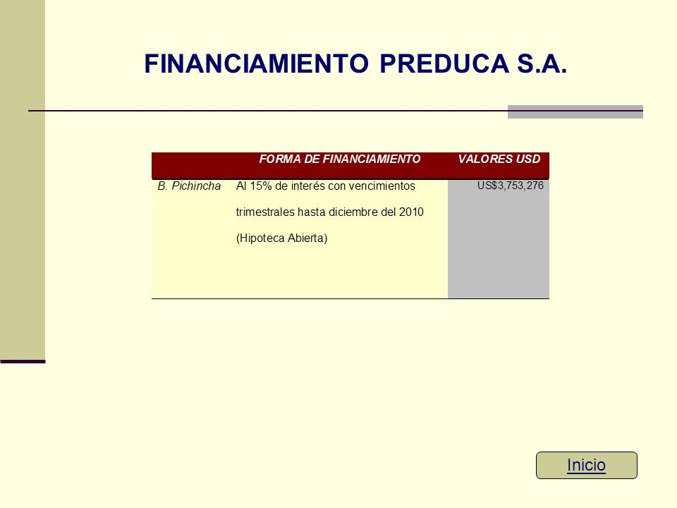FINANCIAMIENTO PREDUCA S.A.