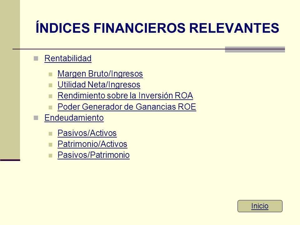 ÍNDICES FINANCIEROS RELEVANTES