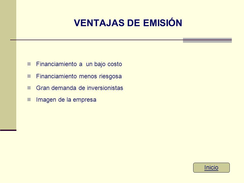 VENTAJAS DE EMISIÓN Financiamiento a un bajo costo