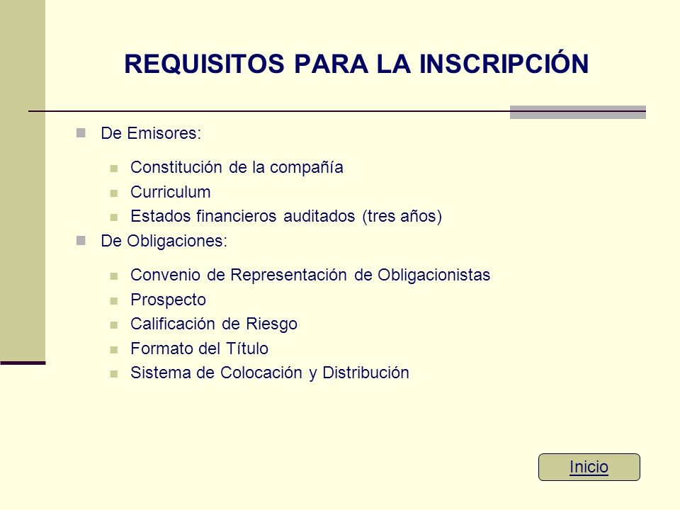 REQUISITOS PARA LA INSCRIPCIÓN