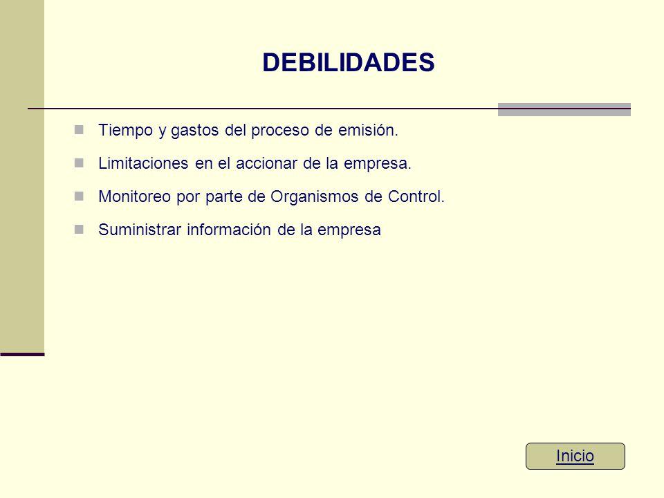 DEBILIDADES Tiempo y gastos del proceso de emisión.
