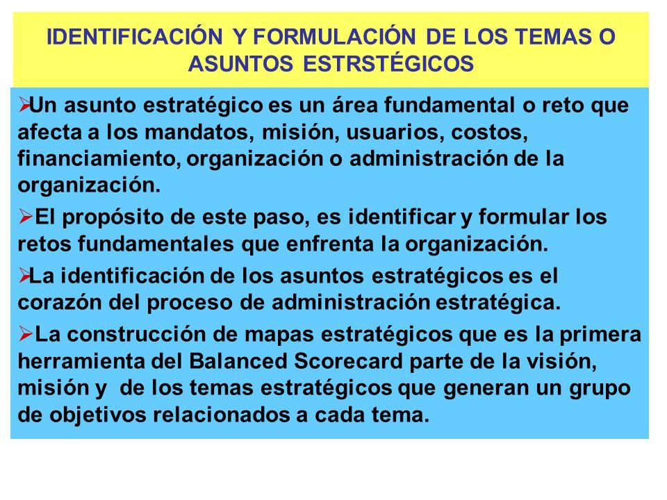 IDENTIFICACIÓN Y FORMULACIÓN DE LOS TEMAS O ASUNTOS ESTRSTÉGICOS