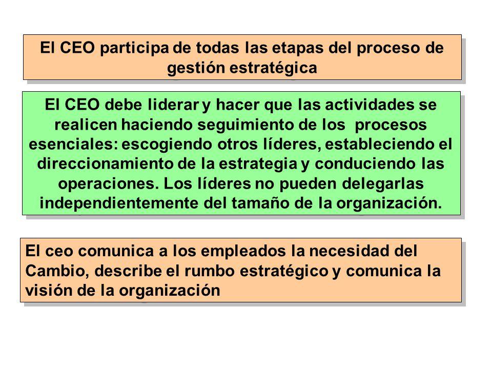 El CEO participa de todas las etapas del proceso de gestión estratégica