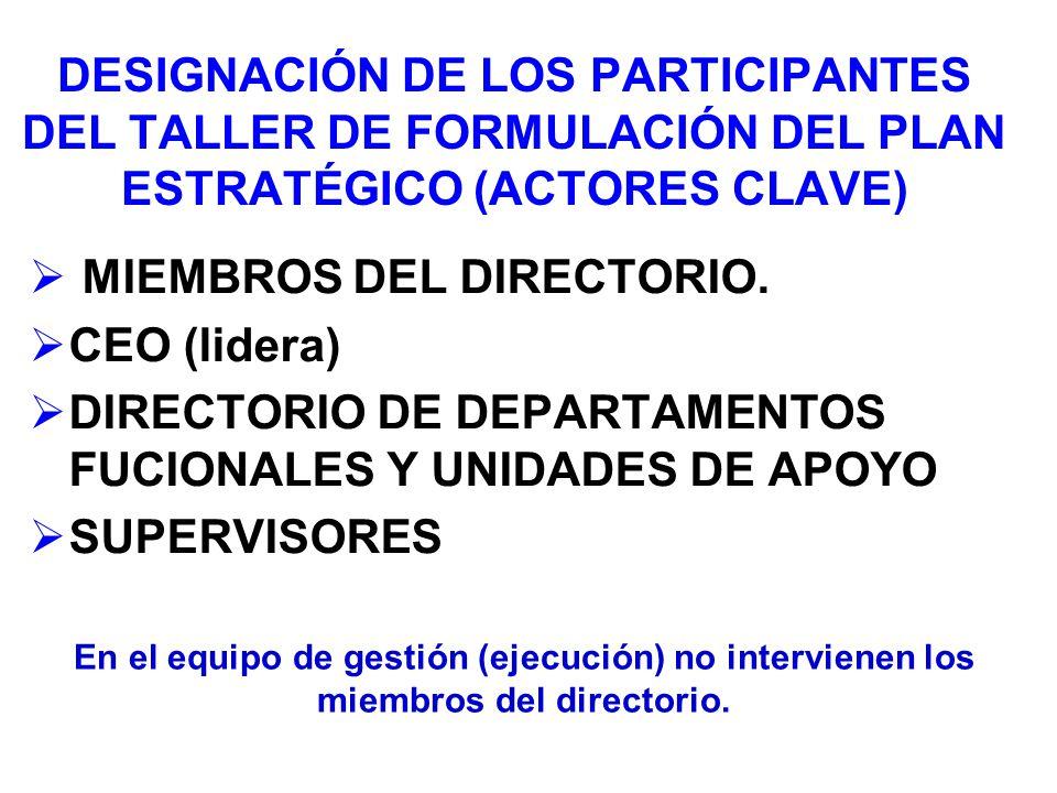 MIEMBROS DEL DIRECTORIO. CEO (lidera)