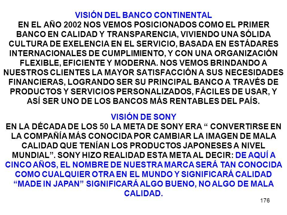 VISIÓN DEL BANCO CONTINENTAL EN EL AÑO 2002 NOS VEMOS POSICIONADOS COMO EL PRIMER BANCO EN CALIDAD Y TRANSPARENCIA, VIVIENDO UNA SÓLIDA CULTURA DE EXELENCIA EN EL SERVICIO, BASADA EN ESTÁDARES INTERNACIONALES DE CUMPLIMIENTO, Y CON UNA ORGANIZACIÓN FLEXIBLE, EFICIENTE Y MODERNA. NOS VEMOS BRINDANDO A NUESTROS CLIENTES LA MAYOR SATISFACCIÓN A SUS NECESIDADES FINANCIERAS, LOGRANDO SER SU PRINCIPAL BANCO A TRAVÉS DE PRODUCTOS Y SERVICIOS PERSONALIZADOS, FÁCILES DE USAR, Y ASÍ SER UNO DE LOS BANCOS MÁS RENTABLES DEL PAÍS.