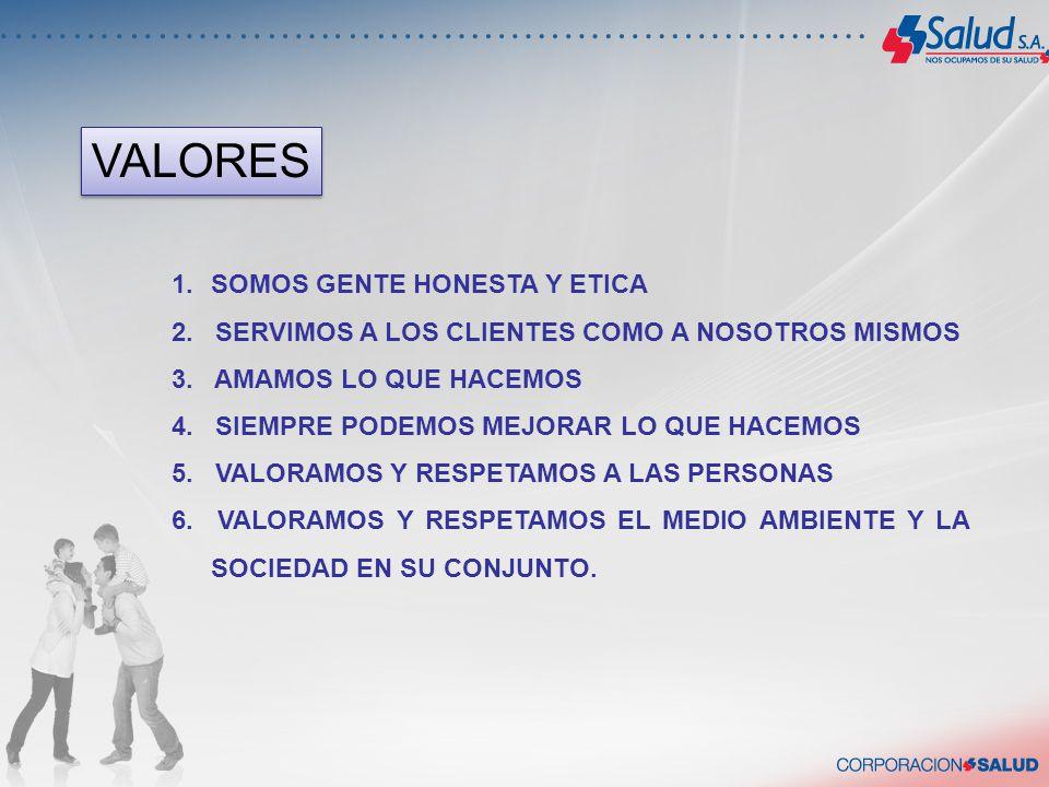 VALORES SOMOS GENTE HONESTA Y ETICA