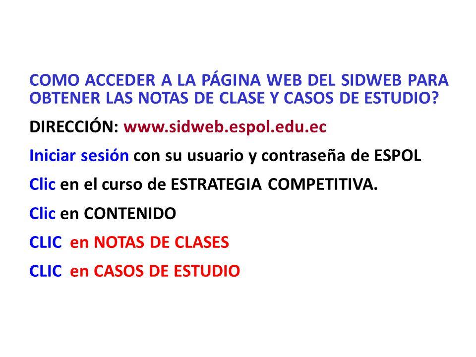 COMO ACCEDER A LA PÁGINA WEB DEL SIDWEB PARA OBTENER LAS NOTAS DE CLASE Y CASOS DE ESTUDIO