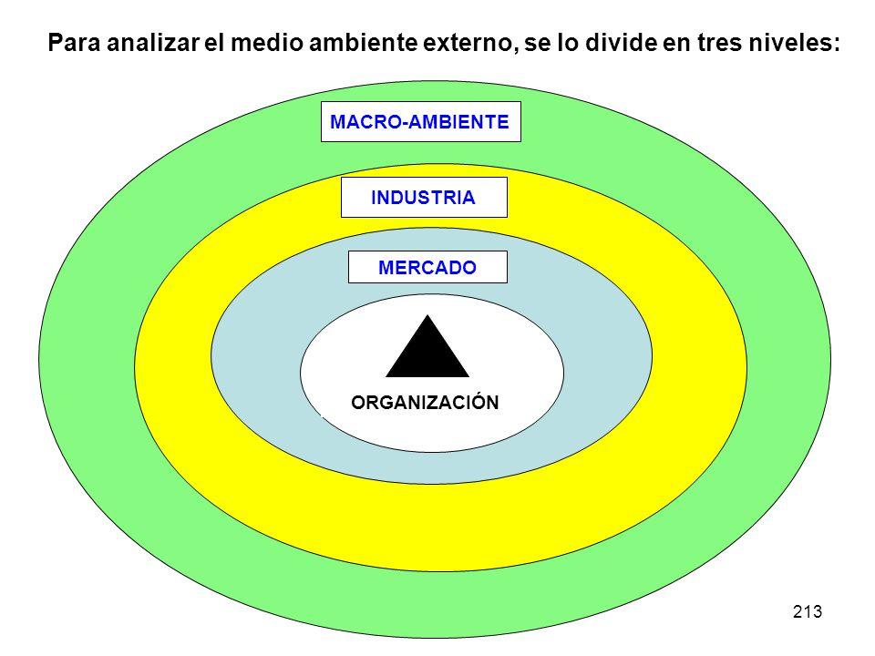 Para analizar el medio ambiente externo, se lo divide en tres niveles: