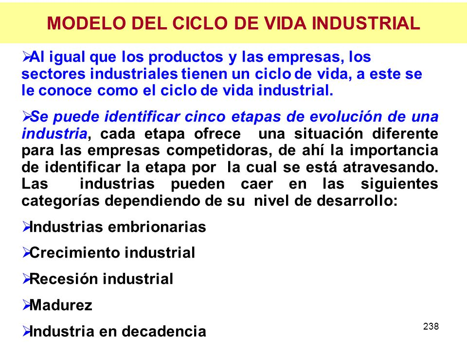 MODELO DEL CICLO DE VIDA INDUSTRIAL