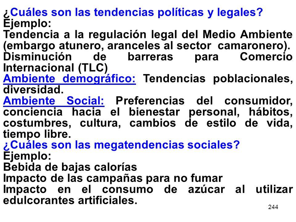 ¿Cuáles son las tendencias políticas y legales Ejemplo:
