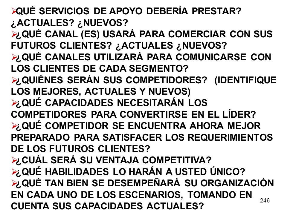 QUÉ SERVICIOS DE APOYO DEBERÍA PRESTAR ¿ACTUALES ¿NUEVOS
