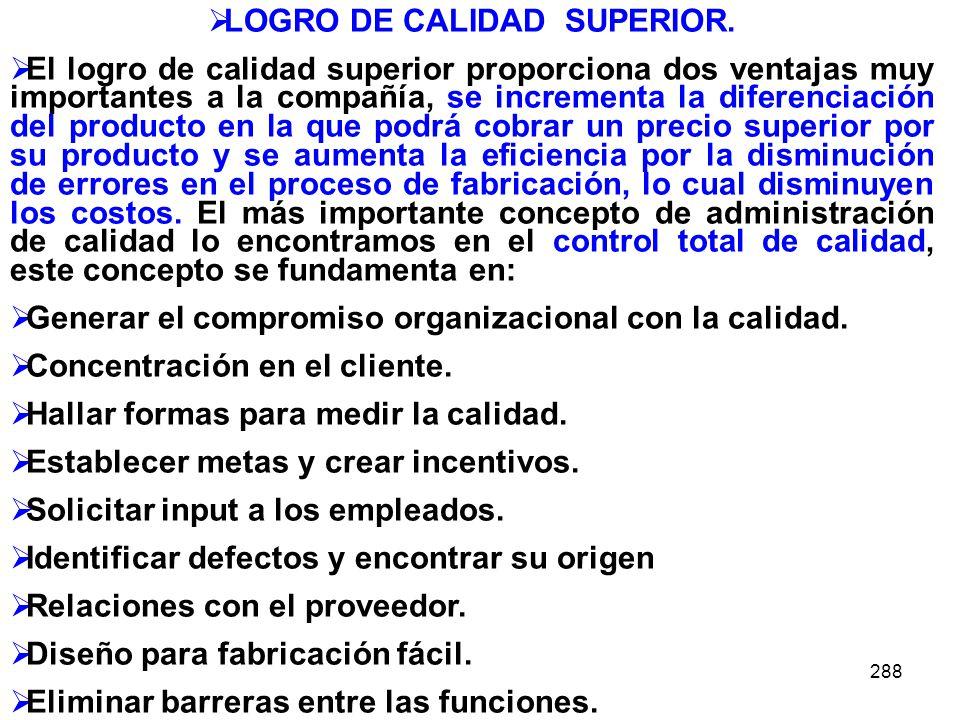 LOGRO DE CALIDAD SUPERIOR.