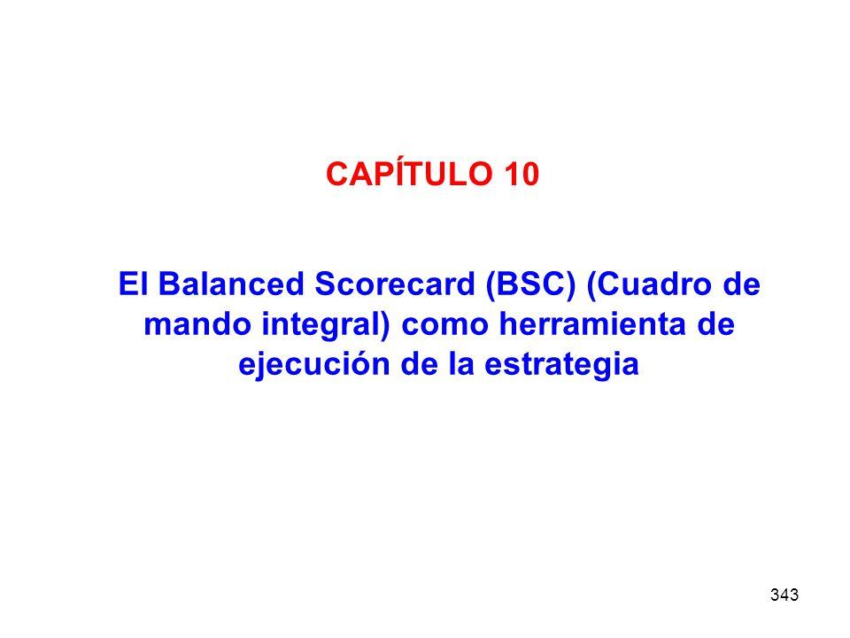 CAPÍTULO 10 El Balanced Scorecard (BSC) (Cuadro de mando integral) como herramienta de ejecución de la estrategia.