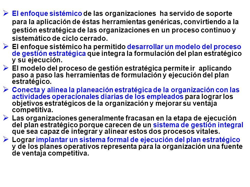 El enfoque sistémico de las organizaciones ha servido de soporte para la aplicación de éstas herramientas genéricas, convirtiendo a la gestión estratégica de las organizaciones en un proceso continuo y sistemático de ciclo cerrado.