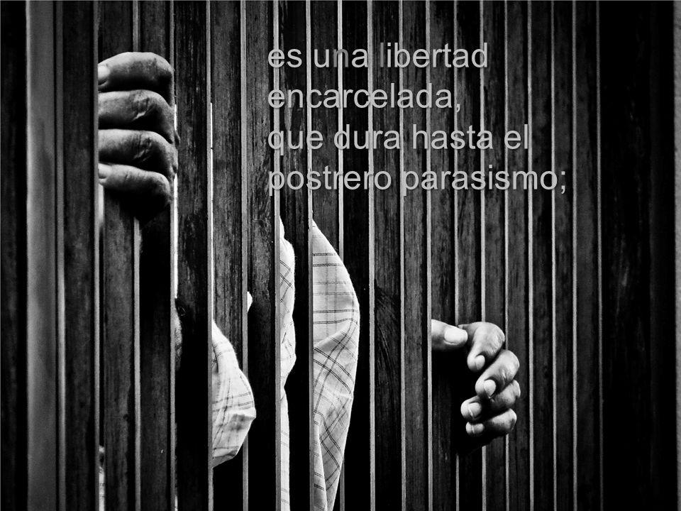 es una libertad encarcelada, que dura hasta el postrero parasismo;