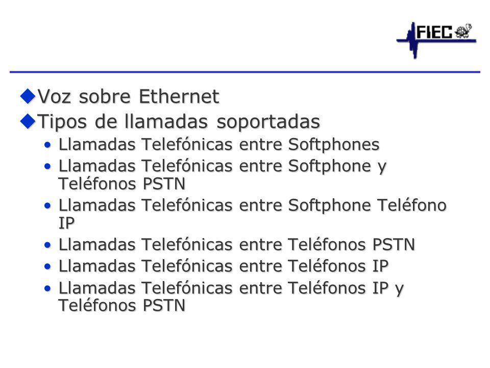 Tipos de llamadas soportadas
