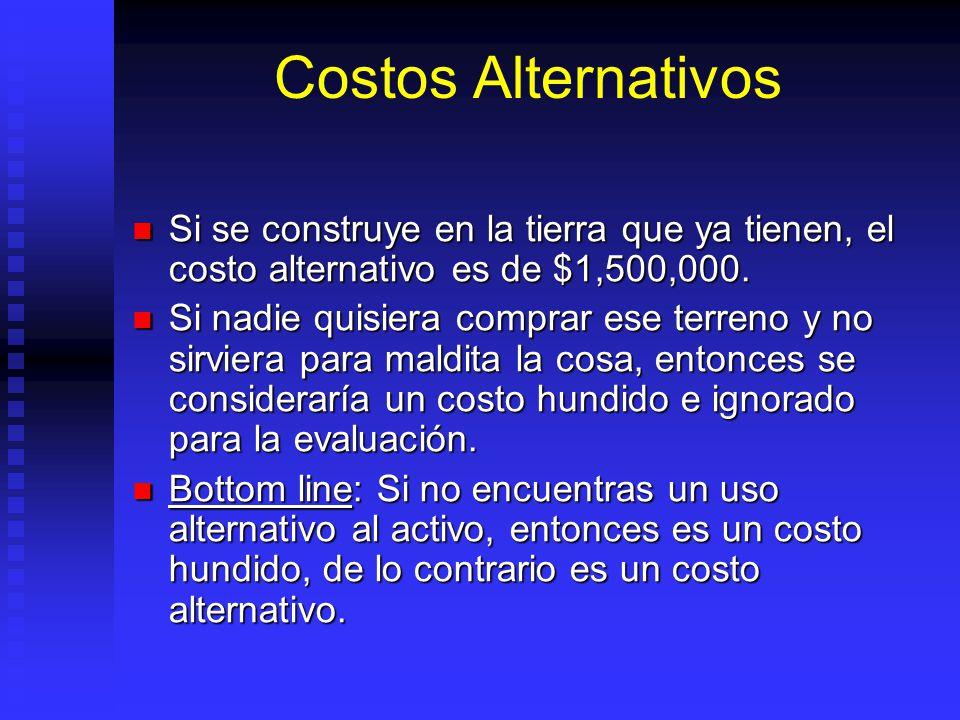 Costos Alternativos Si se construye en la tierra que ya tienen, el costo alternativo es de $1,500,000.