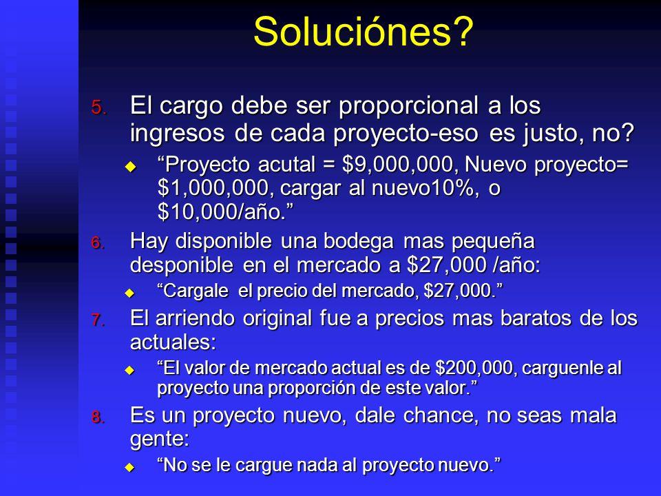 Soluciónes El cargo debe ser proporcional a los ingresos de cada proyecto-eso es justo, no