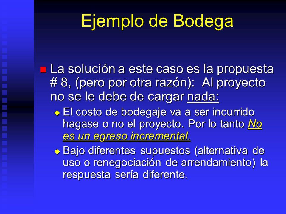 Ejemplo de Bodega La solución a este caso es la propuesta # 8, (pero por otra razón): Al proyecto no se le debe de cargar nada: