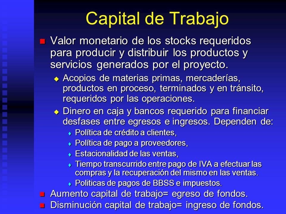Capital de Trabajo Valor monetario de los stocks requeridos para producir y distribuir los productos y servicios generados por el proyecto.