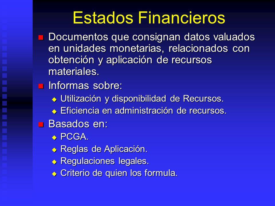 Estados Financieros Documentos que consignan datos valuados en unidades monetarias, relacionados con obtención y aplicación de recursos materiales.