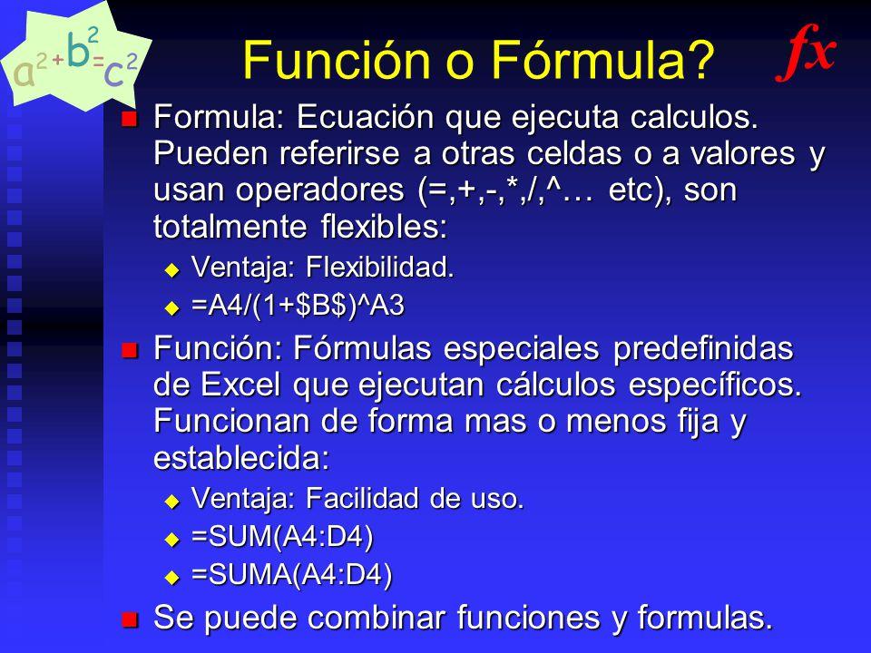 Función o Fórmula fx.