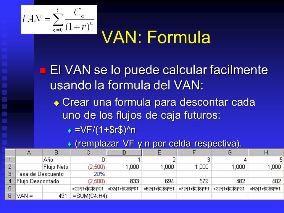 VAN: Formula El VAN se lo puede calcular facilmente usando la formula del VAN: