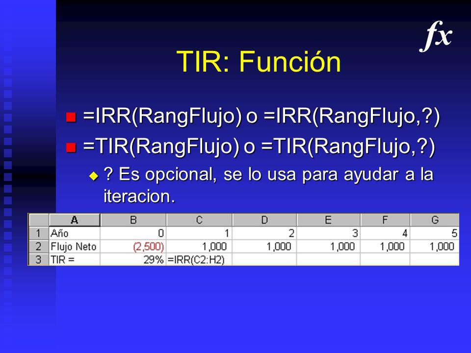 fx TIR: Función =IRR(RangFlujo) o =IRR(RangFlujo, )