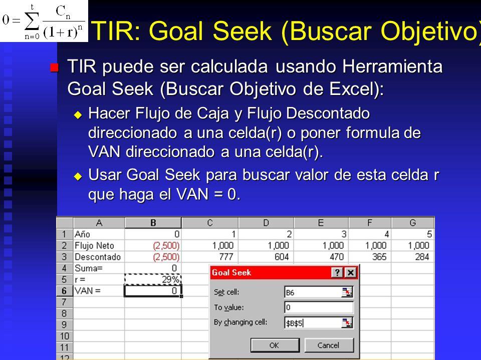 TIR: Goal Seek (Buscar Objetivo)