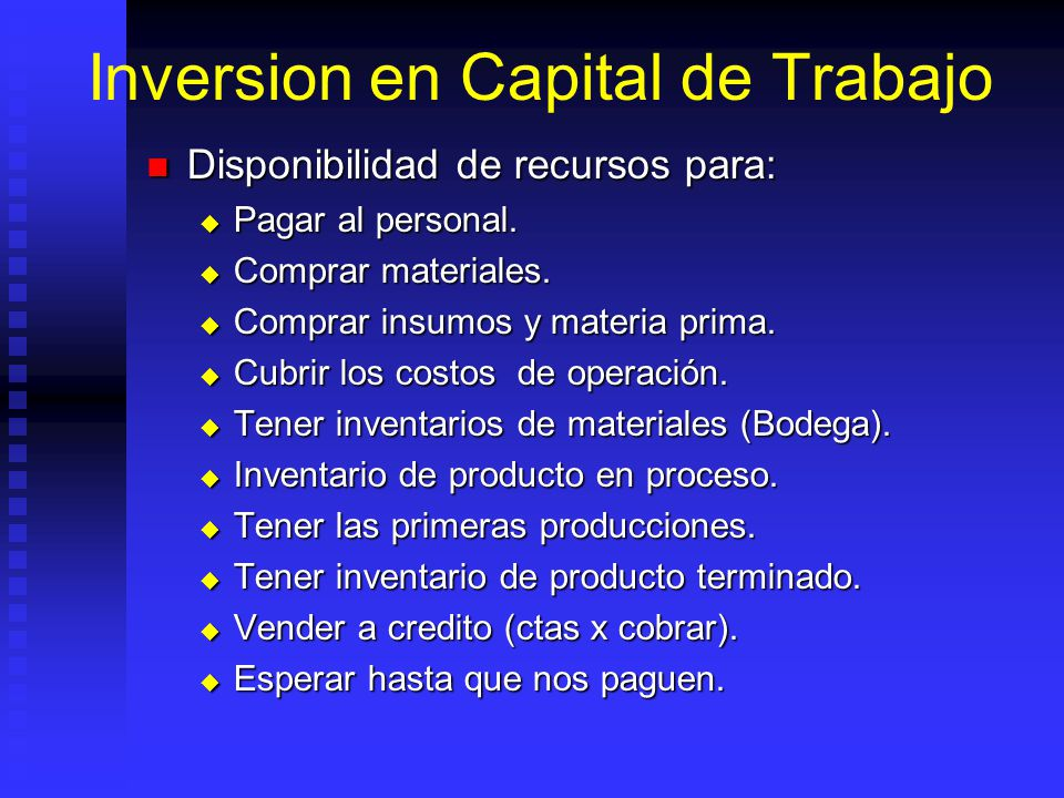 Inversion en Capital de Trabajo