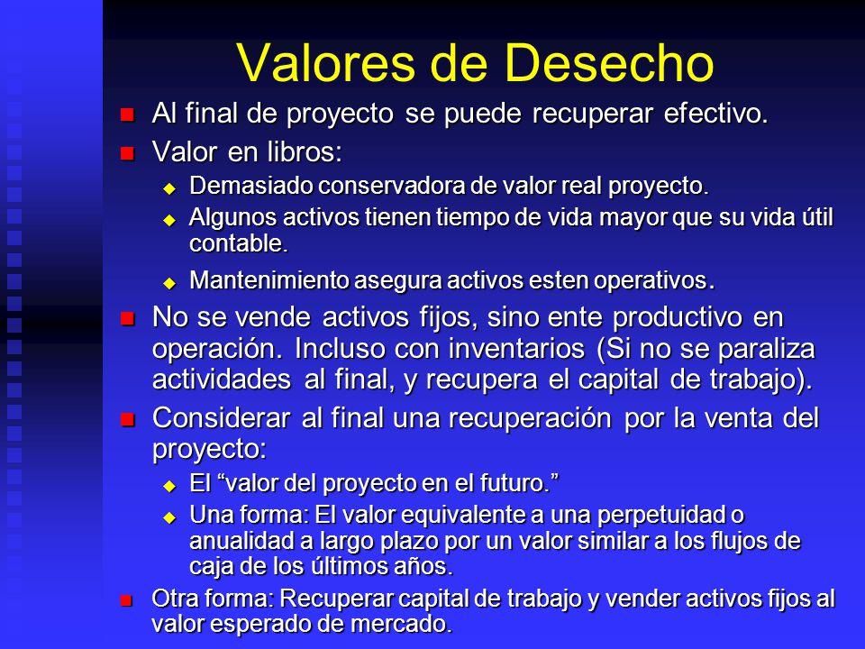 Valores de Desecho Al final de proyecto se puede recuperar efectivo.