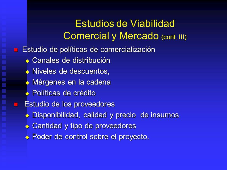 Estudios de Viabilidad Comercial y Mercado (cont. III)