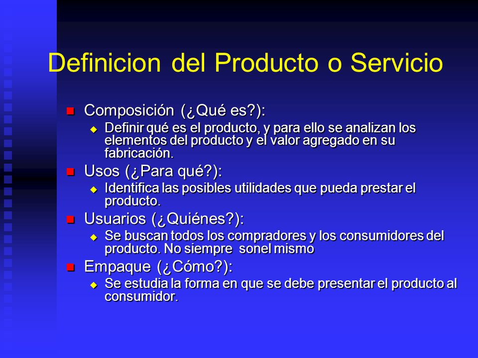 Definicion del Producto o Servicio