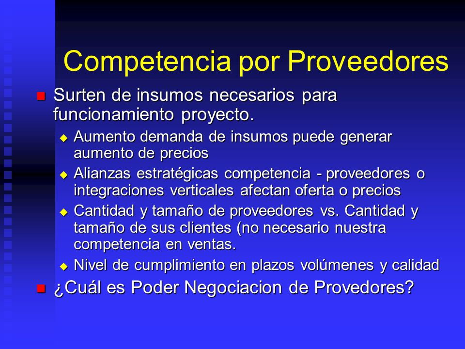 Competencia por Proveedores